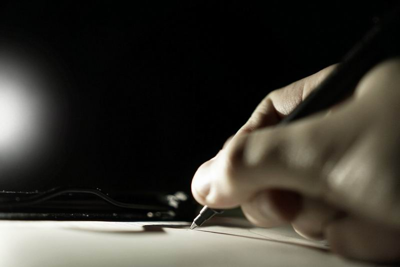 escrever bem à noite