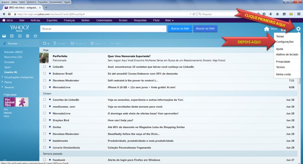 Como fazer assinatura de email no Yahoo